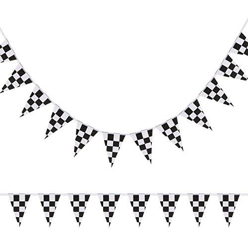 KAIMENG Tuch Checkered Wimpel Banner Racing Flag Banner Party Zubehör für Rennen Thema Geburtstagsparty Dekoration 15 Meter