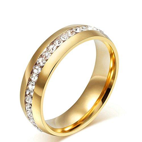 Sanjiu gioielli donne matrimonio fidanzamento anelli rotondi in acciaio INOX a fila zircone anello donna promessa anniversario fascino anello di fidanzamento per le donne oro, acciaio inossidabile, 19, colore: Gold, cod. SanJieyun59