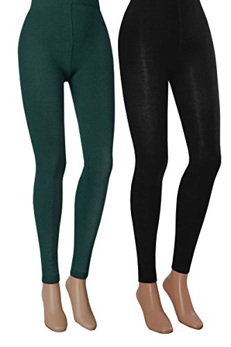Vitasox Damen Thermo Leggings mit Innenfleece Thermoleggings schwarz warm Damenleggings 2er Pack schwarz&anthrazit