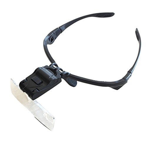 Lupenbrille mit LED Licht Und 5 Wechselgläsern (1X /1.5X / 2X /2.5X /3.5X)