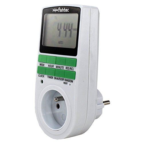 FISHTEC ® Zeitschaltuhr, digital, Timer (24 Std. / 7 Tage), herkömmliche Steckdose, Energieeinsparung für Lichter im Haus und andere Geräte -