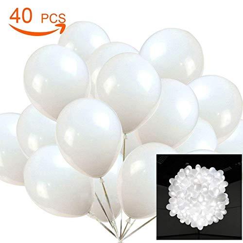 40 Stücke LED Leuchtende Luftballons Weiß Led Ballons Partyballon Spielzeug für Party Geburtstag Hochzeit Festival Weihnachten Karneval Valentinstag