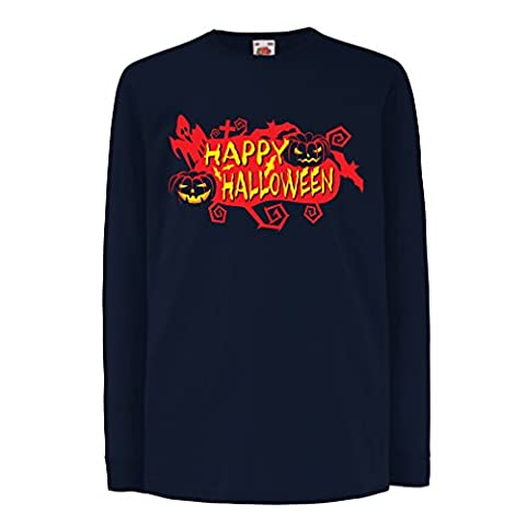 Funny t shirts for kids Long sleeve Happy Halloween! (12-13 years Blue Multi Color)