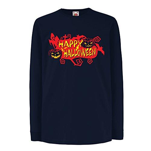 Kinder-T-Shirt mit Langen Ärmeln Owls, Bats, Ghosts, Pumpkins - Halloween Outfit Full of Spookiness (9-11 Years Blau Mehrfarben) (Halloween 9 Film Full)