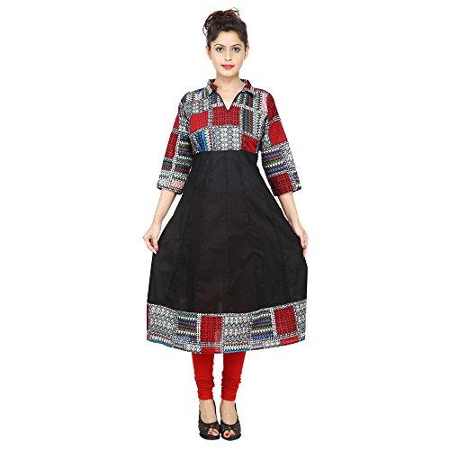 AnjuShree-Choice-Womens-Blue-Cotton-Anarkali-Kurta-Kurti