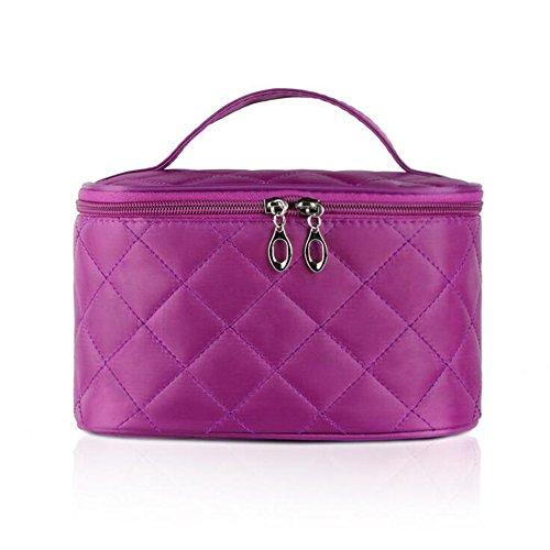 Portable toilet Travel Bag Lady Viaggiare Trucco Sacchetto dell'organizzatore cosmetico Contenitore Della cassa del sacchetto Scatola di alta capacità con manico e Mirror (Viola)