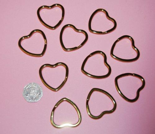 Klemmring für Schlüsselanhänger und Bastelarbeiten, herzförmig, 25mm, goldfarben, 10Stück -