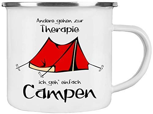 Cadouri Camping Emaille Tasse ANDERE GEHEN ZUR THERAPIE ICH GEH' EINFACH CAMPEN Kaffeetasse Campingbecher Outdoortasse - 300 ml