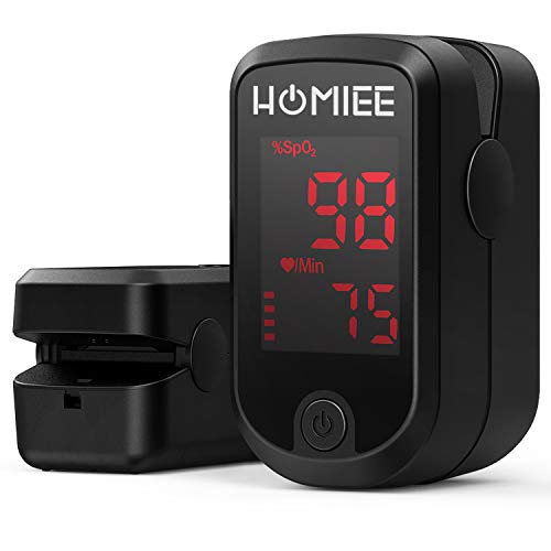 HOMIEE Pulsoximeter für Sauerstoffgehalt im Blut SpO2 und Herzfrequenz Pulsfrequenz Messen, Fingeroximeter mit LCD Bildschirm und Herzfrequenz Monitor für zu Hause, Sport, Bergsteigen, Skifahren usw