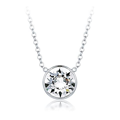 MYJS Bella Drop Necklace Rhodium Plated with Clear Swarovski Crystals, Birthstone Pendant Gift 16+2