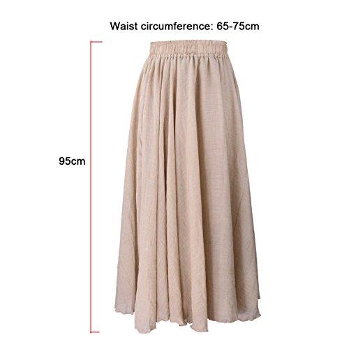 Evedaily Damen Rock Maxirock Sommerrock Langer Rock Baumwolle Leinen elastische Taillenbund One Size - 6