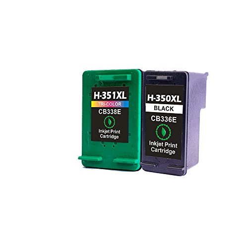 LCL(TM) 350XL 351XL CB336EE CB338EE (2-Pack Negro Tricolor) Cartuchos de Tinta Remanufacturado para HP DeskJet Photosmart C4380 4480 4580 4270 4275 4483 5283 4348 5275 4210