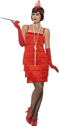 Smiffy's 45499L - Damen Flapper Kostüm, Kurzes Kleid, Haarband und Handschuhe, Größe: 44-46, (Kleid Kostüm Ideen Rot)