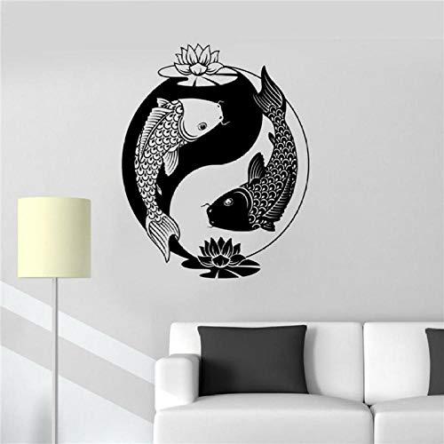 New Home Vinyl Aufkleber Yin Yang Tai Lotus Chinesische Philosophie Zen Fisch Wandaufkleber 48 * 57 Cmwandsticker Für Kinderzimmer