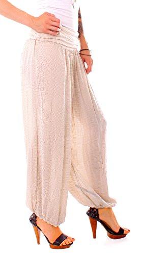 Easy Young Fashion Damen Pluderhose Pünktchen Muster Beige