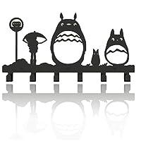Animal Cat Girl Metal Wall Mounted Bag Hanger Towels Rack Originality Clothing Hooks Sweet Black(Cute Totoro)