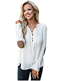 SODIAL(R) Women Autumn Spring Tops Series Fashion V-neck Lace Up Long Sleeve Solid Casual Sexy Knitted T Shirts(WHITE, S/US~4/UK~8)