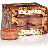 Yankee Candle Tea Light Candele Profumate Cinnamon Stick 12 Pezzi, Cera, Arancione, 8.6 x 8.5 x 6.3 cm