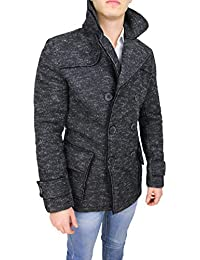 Mat Sartoriale Cappotto Uomo Casual Nero Invernale Doppiopetto Giacca  Cardigan Slim Fit 65470f4d561