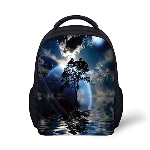 Kids School Backpack Fantasy House Decor,Water Night View Dark Clouds Stars Moonlight Sky Rays Tree Reflection on Sea Print,Navy Plain Bookbag Travel Daypack