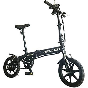 Helliot Bikes Siam Bicicleta eléctrica Plegable con batería de Litio, Adultos Unisex, Negra,