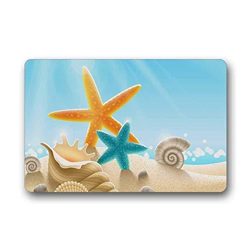 enutzerdefinierte Ozean Thema Sea Life Starfish Muschel Maschine Waschbar Top Stoff Rutschfeste Gummi Indoor Outdoor Home Office Bad Fußmatte Größe 23.6x15.7 ()