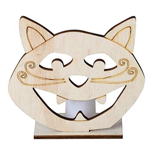 FURU DIY Holz Halloween Katze Kopf Hohlen Anhänger Platte Ornament Mit LED Candy Light Lampe Home Party Decor (Halloween Gesunde Platte)