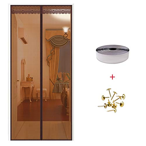 LIFEING Sommer Selbstklebendem Klettband Fliegengitter für Fenster Haushalt Schlafzimmer Fliegengitter für Türen luftdurchlässig Moskitonetz mit Magnetverschluss-B-90x240cm(35x94inch)