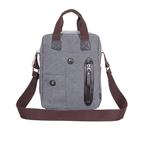 DOXUNGO Unisex Handtasche Segeltuch Fashion Umhängetasche Herren Damen für Bussiness Arbeit Freizeit Reisen Wandern Fahrradfahren Grau