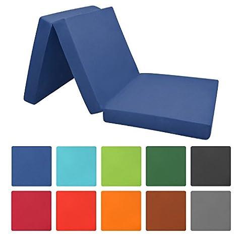 Beautissu Klappmatratze Campix 80x195 cm klappbares 10 cm starkes Notbett Faltmatratze Gästematratze faltbar Dunkel-Blau