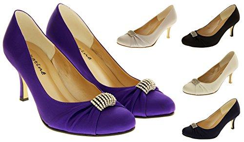 Sabatine Satin Diamante Mariée Chaussures de Mariage Femmes
