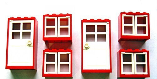 Preisvergleich Produktbild LEGO CITY - 4 Fenster mit Läden + 2 Haustüren mit Rahmen - insgesamt 16 Teile