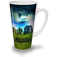 Stonehenge Cool Wellcoda England Icon White Ceramic Latte Mug 17 oz   Wellcoda