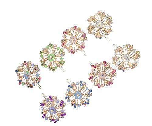 8-piece-crystal-bling-flower-barrettes-designer-fashion-hair-accessory-for-teens-women-by-fashionnut