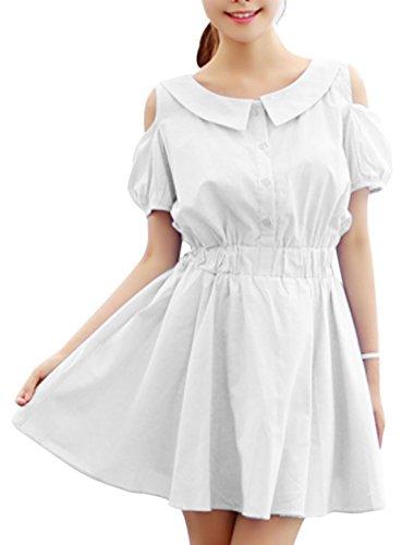 Femme Col Rabattu Découpe Les Épaules Cravate Nœud Robe Blanc