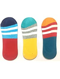 Platinum Unisex Loafer No show Anti slip Socks Multi colored in a stylish pack of 3 pairs in SALE!!