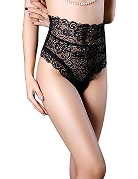 LUOEM Las mujeres estiramiento de encaje de cintura alta bragas que adelgaza la cadera Abdomen escritos ropa interior...