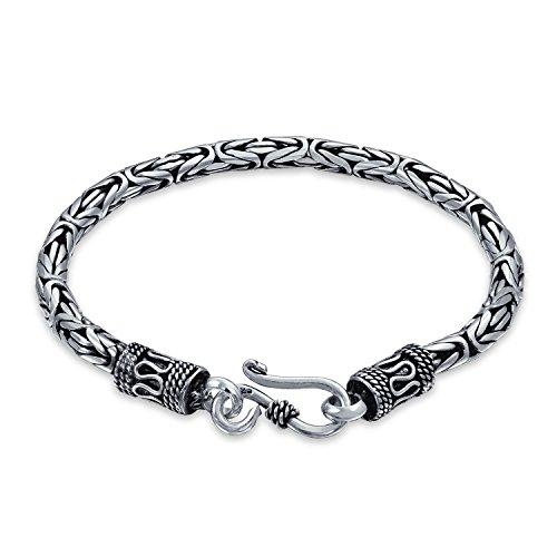 Bali Byzantinischen Kette Armband Auge Und Haken Antiqued 925 Sterling Silber Für Damen Für Herren (Herren-armband Bali)