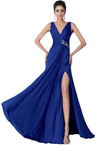 Sunvary scollo a V, con parte posteriore aperta Prom abiti di sicurezza con strass Royal Blue