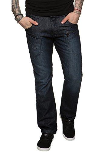 Enzo NEU DESIGNER HERREN viele Taschen Jeans gerades Bein Regular Fit Stylisch Denim - DARK STONEWASH, 40W / 32L (Stonewash Dunkle Jeans)