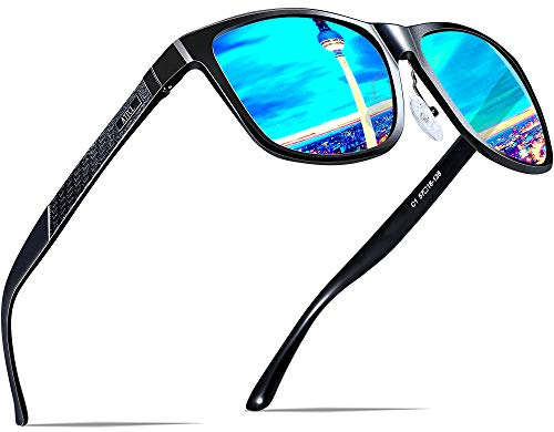 ATTCL Herren Polarisierte Fahren Sonnenbrille Al-Mg Metall Rahme Ultra Leicht 8587-black-blue - Zu Wie Hallo Sagen,