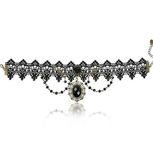 Trifycore estilo collar de cordón de mujer Chica Virgen gótica Gargantilla Gargantilla joyas retro negro suspensión elíptica
