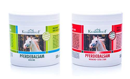 Kräuterhof® Pferdebalsam Set - (1 x wärmend und 1 x kühlend) 500ml Dosen mit Alufolie versiegelt -