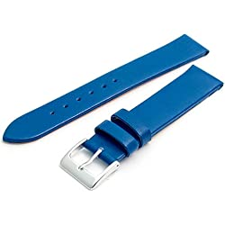 Fine Calf Leather Watch Strap Band 16mm Mid Blue with Chrome (Silver Colour) Buckle. Free Spring Bars (Watch Pins)