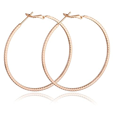 Yazilind Circle Polished Shiny Rose 18K Gold Plated Extra Large Omega Back Hoop Earrings 47mm Diameter