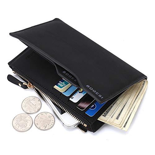 SUNYUEWALLET Herrenbrieftasche Lange Braune Oder Schwarze Reißverschlüsse PU-Leder Brieftasche Bifold Multi-Funktions-Multi-Karten-Mode-Freizeit-Brieftasche Mit Großer Kapazität,Black -