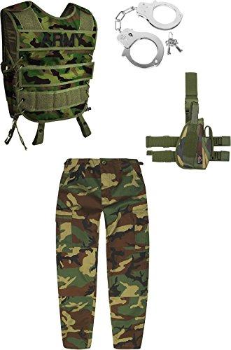 Kinder Fashingskostüm bestehend aus SWAT-Weste, Kinderhose, Holster und Handschellen Farbe Woodland Größe M/134-140 (Safari Kostüm Kind)