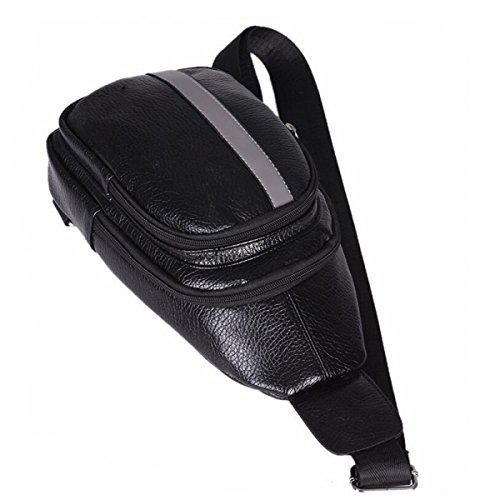 Cassa Casuale Sport All'aria Aperta Uomo Confezione Un Pu Petto In Pelle Pacchetto Sacchetto Piccolo Zaino Del Messaggero Di Modo Black1