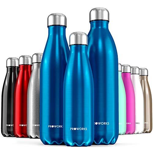 Proworks Edelstahl Trinkflasche | 24 Std. Kalt und 12 Std. Heiß - Premium Vakuum Wasserflasche - Perfekte Isolierflasche für Sport, Laufen, Fahrrad, Yoga, Wandern und Camping - 1 Liter - Blau
