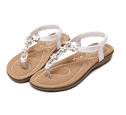 Mot de style chaussures à bout ouvert sangles croisées flip brodent chaussures à talons loisirs sauvages White
